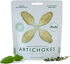 POSHI Marinated Vegetable Snack, Artichoke Hearts | Low Calorie | Lightly Steamed | Vegan + Gluten Free | 1.58 oz | 10 Pack