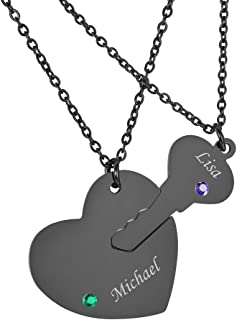 Stainless Steel Personalized Key Heart Puzzle Necklace Set with Birthstones - Custom Made with Any Name