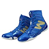 10. Wesing Unisex Pro Kickboxing Footwears Training Shoes High-top Ankle Boxing Shoes Blue