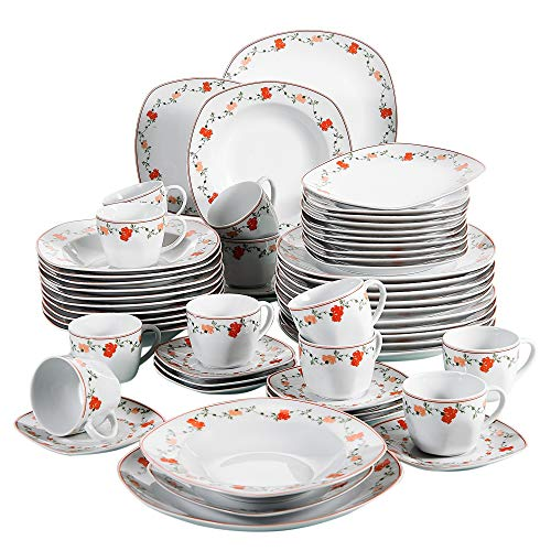 VEWEET Porzellan Geschirrset \'Gloria\' 60-teilig für 12 Personen, Weiß Tafelservice, Kaffeeservice Set
