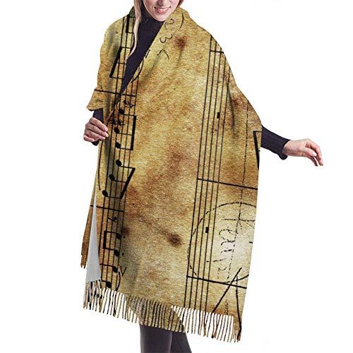 Bufanda larga y cálida y suave Otoño Invierno Abrigo de primavera Partitura vintage Chales ligeros y suaves piel Bufandas de cachemira adolescentes y adultos