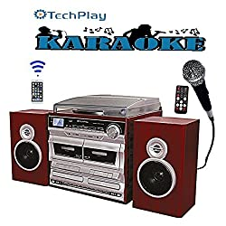TechPlay ODCRK2110 BT,Karaoke,Turntable,W/Dual CD Player/Recorder,Dual Cassette Player/Recorder & Wireless Bluetooth Connection.AM/FM Alarm Clock,SD,USB,AUX and Headphone Ports (CD Recorder)