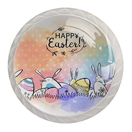 4 tiradores para armarios, aparador, cajones, muebles de cocina o habitación de los niños, fantástico conejo de Pascua