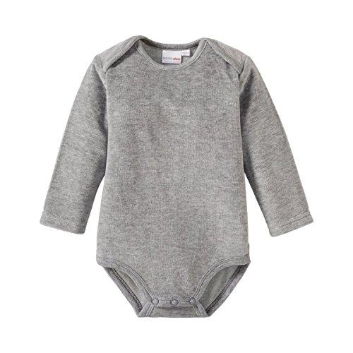 Bornino Nickistrampler langarm für Baby Mädchen und Jungen, grau