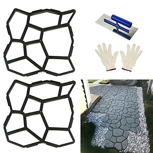 nutroeno 2 Pack Concrete Molds for Walkways – Concrete Stencils, Concrete Stamps, Cement Mold, Walk Maker Molds for Concrete Reusable Lawn Yard Garden Patios. 19.7'x19.7'x1.8'.