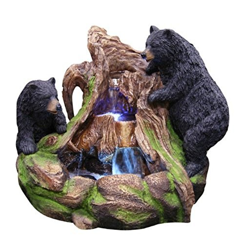 Alpine Corporation GXT252 Bears Climbing a Rock Waterfall Fountain w/LED Light, 24 Inch Tall, Brown and Black