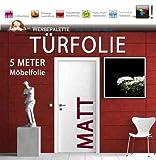 Die Werbepalette (EUR 4,93 / Quadratmeter) 5 Meter x 105 cm Türfolie MATT Deko Plotterfolie + weiß + Klebefolie