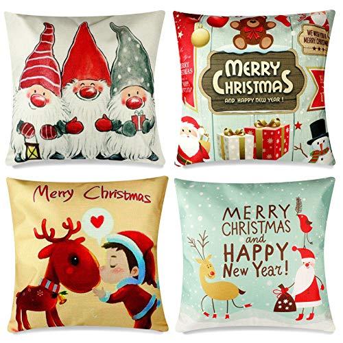 YIRSUR 4 Stück Kissenbezüge Weihnachten, Kissenbezug Weihnachten Christmas, Weihnachtsbaum Dekorative 45 x 45 cm, Weihnachtskissenbezüg Zierkissenbezüge für Wohnzimmer Schlafzimmer Dekor