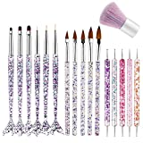 17 PCS Acrylic Nail Brush Kit, Professional UV Gel Nail Brush Set Nail Art Tips Builder Brush Nail Art Point Drill Painting Pen Drawing Brush Dust Remover Brushes for Home (17PCS)