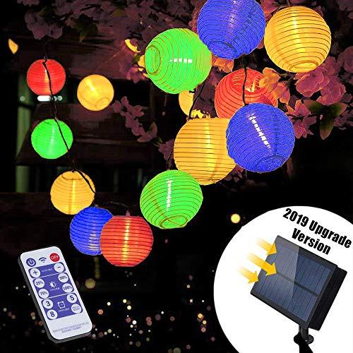 Solar LED Lichterkette Außen mit Fernbedienung | Lunlight 6m 30 LED 5.5V Upgrade Version bunte/farbige Lichterkette Lampions, LED Laterne String Lights für Heim und Garten