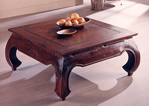 Tavolino Etnico da Salotto 80 x 80 in Legno Teak massello Finitura Noce - Prezzo Outlet