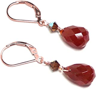 Carnelian Briolette Lever Back Earrings Swarovski Crystal Rose Gold-Filled