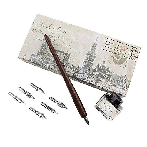 FEATTY Gifts Pen & Ink Set 6 Nibs & Black Ink Bottle Antique Dip Wooden Pen Calligraphy Writing Pen Best Gift & Fancy Dip Pen For All