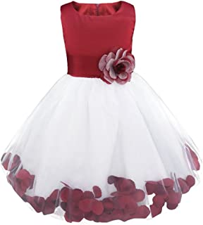 Toddler Girls Sleeveless Petals Bow Flower Girl Dress Princess Pageant Easter Wedding Bridesmaid Cocktail Party Gown