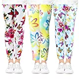 beifon 3Pcs Leggings Niñas Estampados Mallas Pantalones Stretch para Niña Elásticos Leggins Pantalones Deportivas Largas Estampadas de Flores para Niñas Chicas (Estilo 3, 150, Numeric_150)