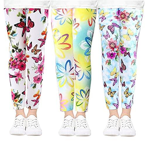 beifon 3Pcs Leggings Niñas Estampados Mallas Pantalones Stretch para Niña Elásticos Leggins Pantalones Deportivas Largas Estampadas de Flores para Niñas Chicas (Estilo 3, 130, Numeric_130)