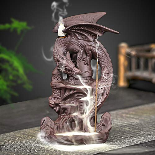 Dragon Incense Backflow Burner Holder Ceramic Incense Cone Holder for Aromatherapy Ornament Party Home Decor