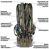 Rutentasche Rod Case Angelkoffer mit 3 Fächern, Verschiedene Längen wählbar - Oliv - 125 cm - 3