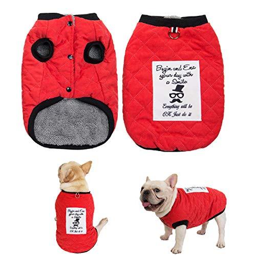 Kismaple Antivento Cappotto per Cani Vestiti Abiti Invernali Giacca Costume Giubbino con Anello a D Abbigliamento Morbido Caldo per L'Inverno per Cane Piccolo Grande Medio (L, Rosso)