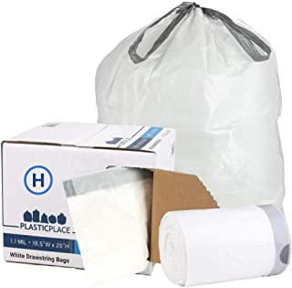 "Plasticplace W18528W11DCR Custom Fit Trash Bags │ Simplehuman Code H Compatible │ 8-9 Gallon / 30-35 Liter White Drawstring Garbage Liners │ 18.5"" x 28"" (200 Count)"