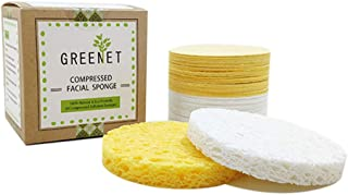 Facial Sponges (60 Count) for Natural Beauty, Exfoliation, and Deep Facial Cleansing   White and Beige Sponges Included, 2 Different Shapes for Choice   100% Cellulose Facial Sponges by Greenet