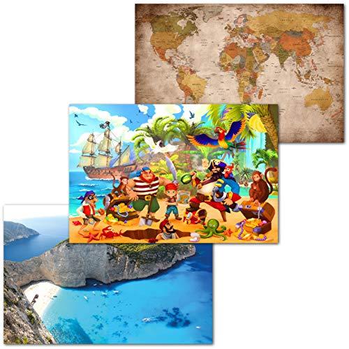 GREAT ART® Juego de 3 Carteles con Motivos Infantiles – Aventura Pirata - Retro Mapa Mundi Barco Pirata Isla del Tesoro decoración Mural de Pared Interior Póster (140 x 100 cm)