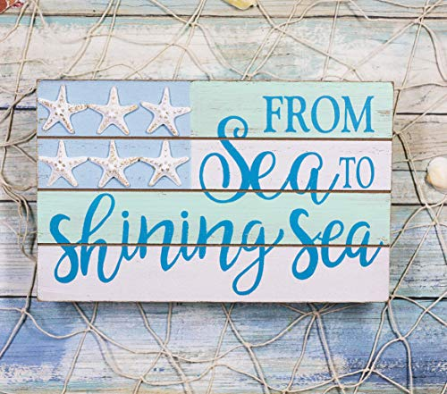 Ebros Nautical From Sea To Shining Sea Wall Decor Sign Starfish Stars And Stripes Slatted Banner Flag Decorative Plaque 9.5'Wide Coastal Beach Marine Nursery Kids Bedroom Kitchen Walls Door Signs