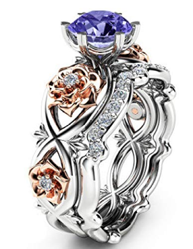 wuligeya Art JKWL dames ring, trouwring, verlovingsring, paar set ring zirkonia ring mode dame hand ring