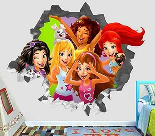 OMCCXO Adhesivo de Pared Poster 3D Art Stickers Vinilo Friends New Girls Niños Dormitorios Bebé Guardería Sala de Estar Niños Niñas 20x27inch(50x70cm)