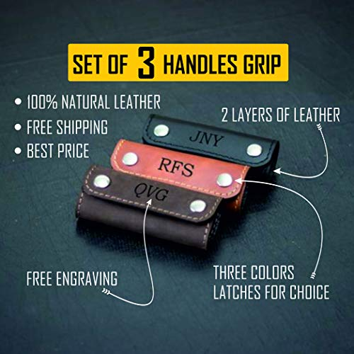 set of 3 Personalized Leather Luggage Handle Wrap - Free Engraving Initials - 3 Leather Colors - Two Layers of 100% Genuine Leather - Made My Hands – Best Travel Gift - Reliable Handmade Handle Grip
