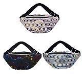 Tangpingsi - Riñonera para mujer, metalizada, resistente al agua, 3 compartimentos, para hombro, niña, bolso para el teléfono móvil, viajes, senderismo
