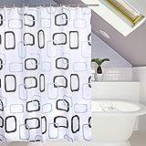 HuaForCity Duschvorhang aus Stoff wasserdichter waschbarer Textil Anti-Schimmel Digitaldruck inkl. 12 Duschvorhangringe für Badezimmer