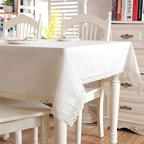 LEYIS Manteles De Algodón Y Lino Puros Engrosamiento De Mesa De Café Mantel De Tela De Encaje En El Cuadro Moderno Minimalista (Color : White, Size : 90X140)