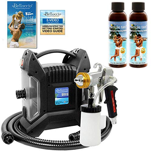Belloccio Turbo Tan ULTRA PRO PLUS Sunless Airbrush Spray Tanning System with G11 Metal Gun and 8% & 12% Simple Tan Solutions