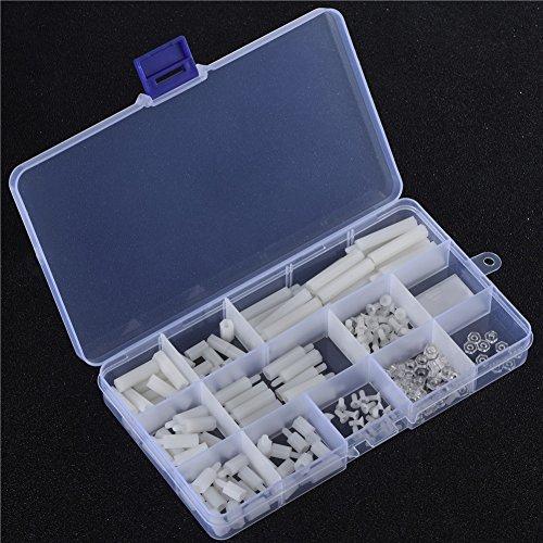 FAMKIT 210 piezas tornillos Kits de tornillos y tuercas de plástico con caja de almacenamiento para DIY Raspberry Pi 2/3