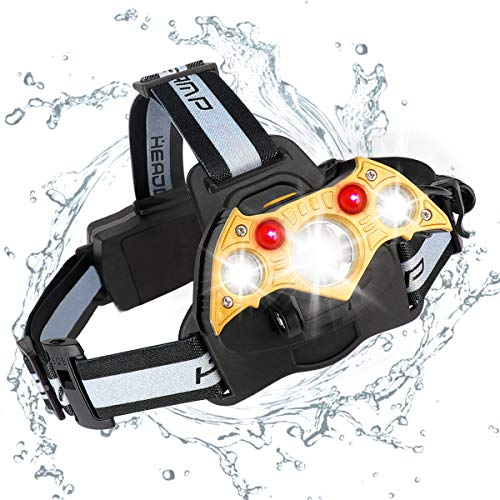 LED-Scheinwerfer-hoheLeistung 6Modes super helle fledermausförmige Scheinwerferjustierbare Akkus für kampierendes wanderndes Fischen, USB-Scheinwerfer SOS-lebenswichtige 8000 Lumen
