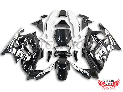 VITCIK (Fairing Kits Fit for Honda CBR600F3 CBR600F 1997 1998 CBR 600 F3 97 98) Plastic ABS Injection Mold Complete Motorcycle Body Aftermarket Bodywork Frame (Black & White) A040