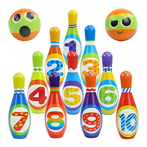 Kids Bowling Set Yard Games Outdoor Toys Carnival Games Fun Bowling Ball Toys with 10 Number Kit Mini Pins and 2 Foam Balls Toddler Developmental Toys Outside Toys for Boys Girls 2 3 4 5 6 Year