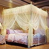 Kyman Cama matrimonial Cortina for el Dormitorio, Mosquitera Tres Abrir la Puerta del Palacio de Suelo de Cama de Princesa Cortina de cifrado-amarillo-32mm_1.2m