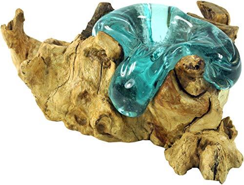 Guru-Shop Wurzelholz mit Teelichthalter aus Mundgeblasenem Glas, Braun, 13x15 cm, Teelichthalter & Kerzenhalter