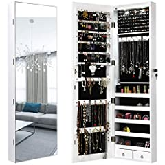 【Large Storage Capacity】With 120 earring slots, 36 earring holes, 98 ring slots, 36 necklace hooks, 5 storage shelves, 2 drawers, bracelet rod and pouch for cosmetic brush, this jewelry armoire will keep all your jewelry organized. 【Wall and Door Mou...