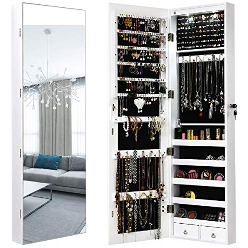 Giantex Wall Door Jewelry Armoire Cabinet with Full-Length Mirror, 2 LEDs Lockable Large Storage Jewelry Organizer with Wide Mirror, Makeup Pouch, Bracelet Rod, Jewelry Amoires w/ 2 Drawers (White)