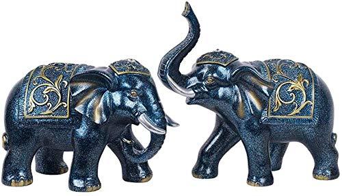 DNSJB - Juego de decoración de elefantes, diseño retro, color azul