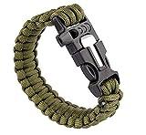 OUTLETISSIMO Bracciale Braccialetto Paracord 3in1 Militare Fuoco Fischietto Sopravvivenza Survival Verde
