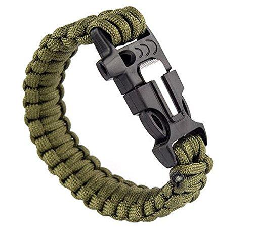 OUTLETISSIMO® Bracciale Braccialetto Paracord 3in1 Militare Fuoco Fischietto Sopravvivenza Survival Verde