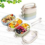 Lunch Box, 3-Layer Bento Box and Cutlery Set Lunch Boxes Food Storage Lunch Box for Kid Adult Work School, Suitable for Microwave and Dishwasher