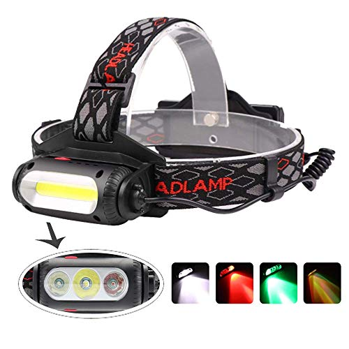 Headlamp, BESTSUN LED Headlamp Rechargeable 1000 Lumens COB Hunting Headlight Head Lamp with Red/Green/White Light for Hiking Camping Fishing Night Vision