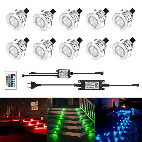 Kingwei RGBW Faretti LED incasso 10 Pezzi 6W Plafoniera da incasso Con telecomando IP67 Impermeabile Faretto da incasso Per esterno/interno, Cartongesso, Segnapasso, Patio, Passerella
