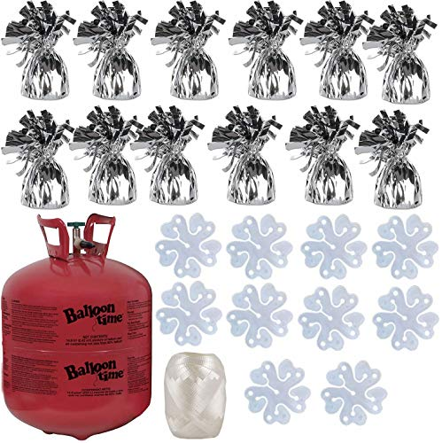 Balloon Time Disposable Helium Tank 14.9 cu.ft - 12 Silver Balloon Weights + Curling Ribbon and Flower Clips