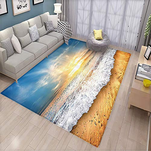 Ocean Decor Collection Non-Slip Floor mat Idyllic Scene of a Sunset with Zippy Waves Moving on to Sand at a Beach Picture Print 6'x8',Can be Used for Floor Decoration